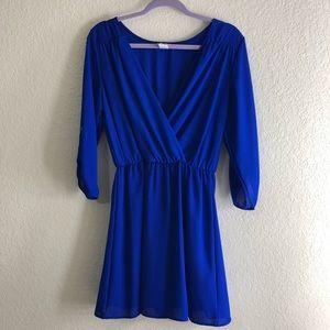 blue mini dress 3/4 sleeves